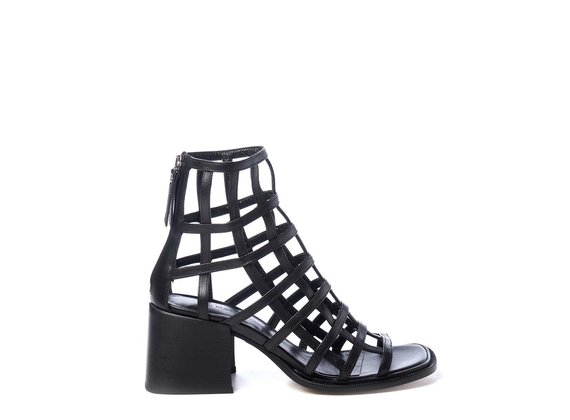 Black cage-effect ankle boots with open toe - Black