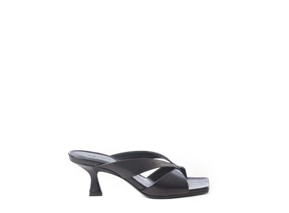 Black sandals with spool heel