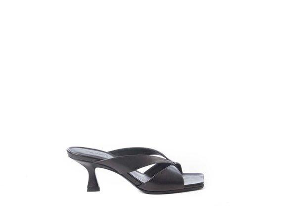 Black sandals with spool heel