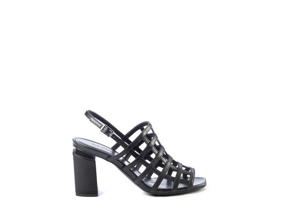 Cage-effect sandals in black calfskin with suspended heel