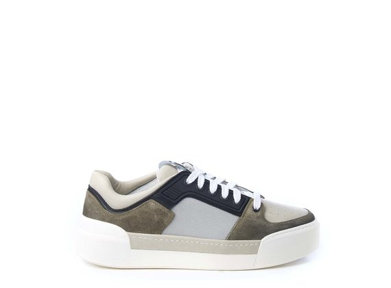 Men's khaki and ice-white sneakers