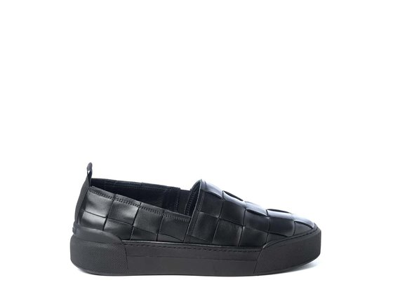 Men's black calfskin slip-ons
