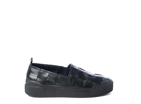 Herren-Slip-on-Schuh aus schwarzem Kalbsleder