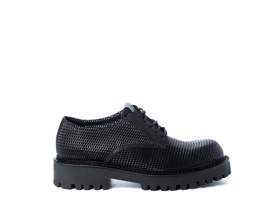 Men's black lace-ups in perforated calfskin - Black