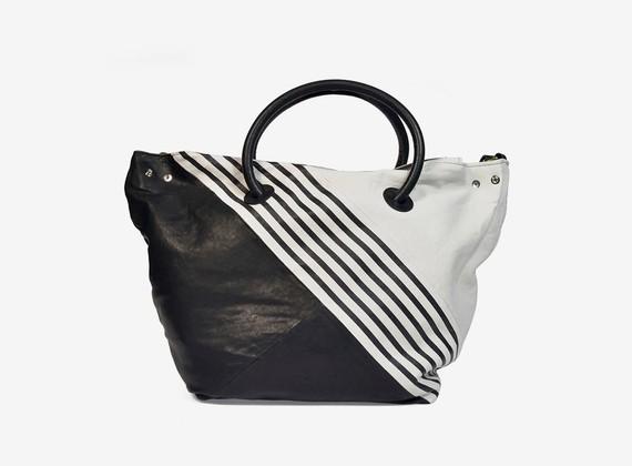 Optical bicolour leather handbag with handles