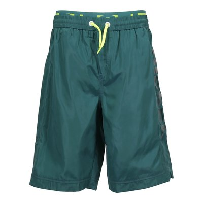 Green nylon swim shorts