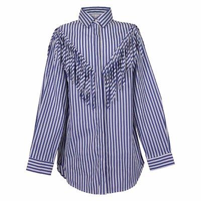 Abito shirt a righe in popeline di cotone