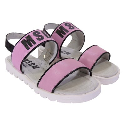 Pink logo detail faux leather sandals