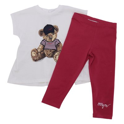 Cotton jersey white t-shirt & red leggings set