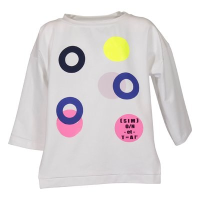T-shirt bianca in jersey di cotone con dettagli fluo