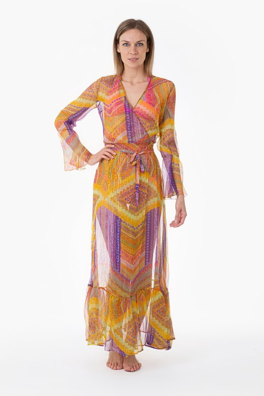 LONG KAFTAN WITH CROSSING SILK LUREX