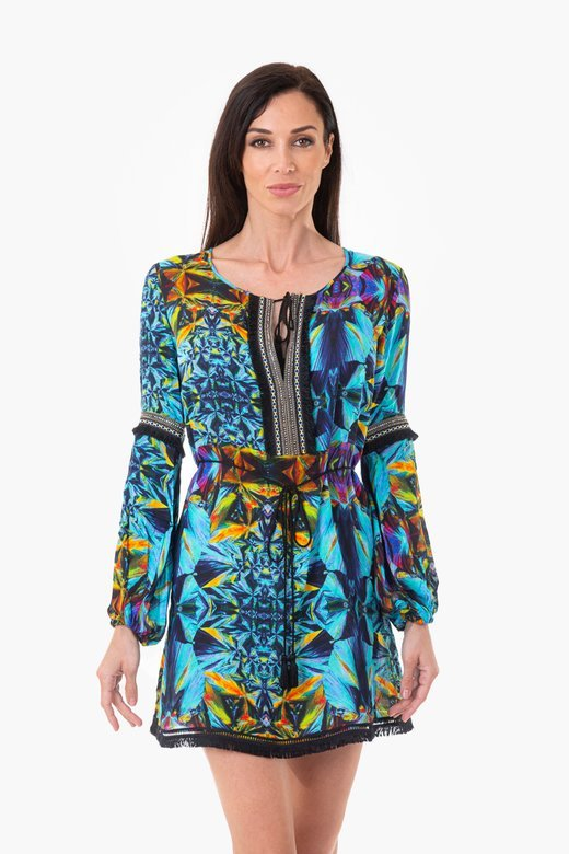 SHORT KAFTAN  WITH TRIMMINGS AND BELT