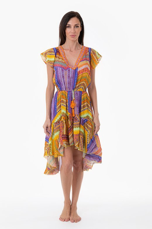ASYMMETRIC LONGUETTE DRESS WITH TRIMMINGS