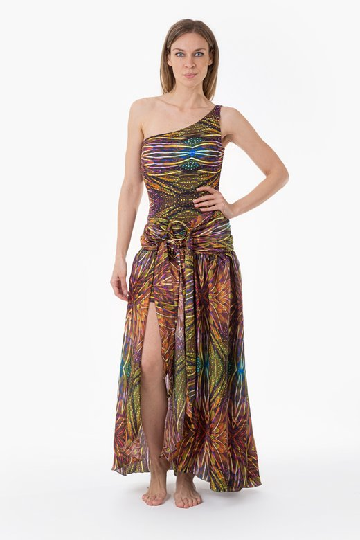 ONE SHOULDER LONG DRESS WITH CIRCLES