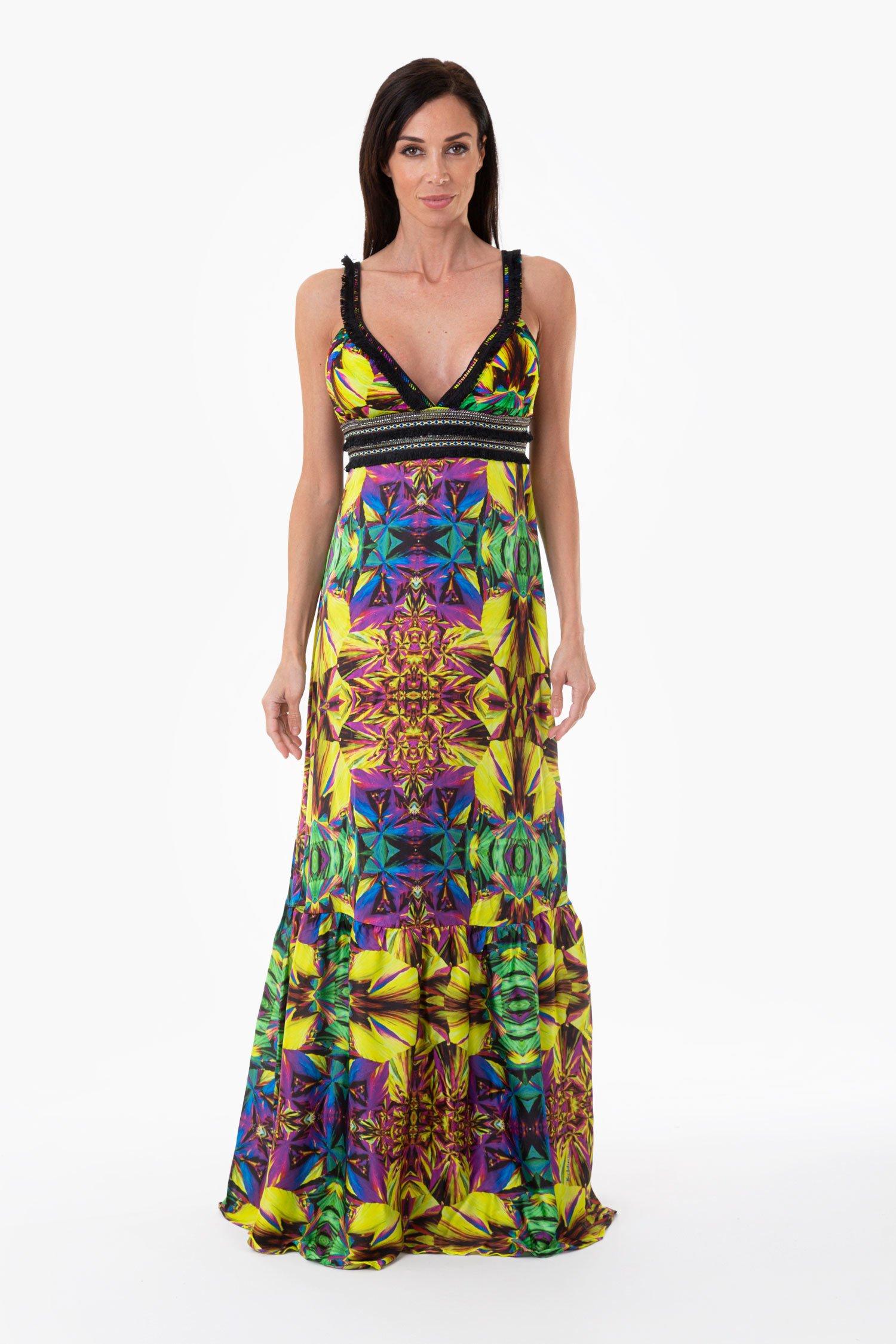 LONG DRESS CORSAGE - Yellow Kaleidoscope