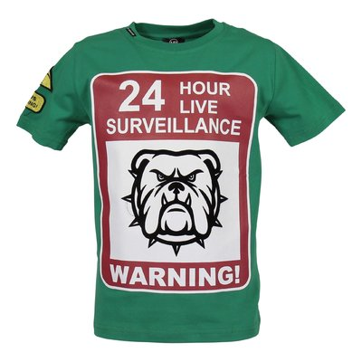 T-shirt verde Warning in jersey di cotone