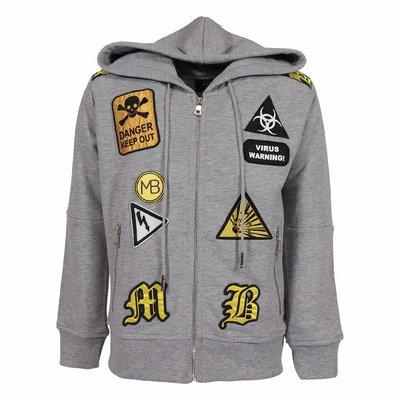 Melange grey cotton hoodie