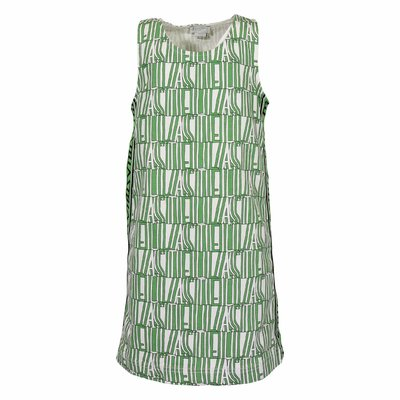 White & green logo denim cotton dress