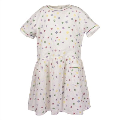 White organic cotton dress with star shaped embroideries