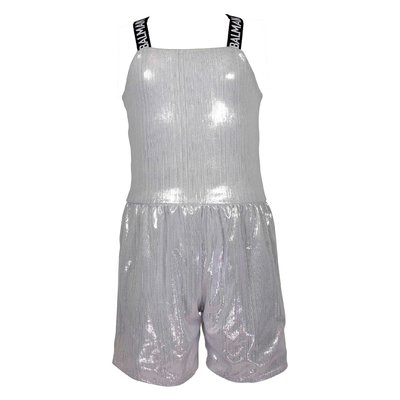 Silver techno fabric jumpsuit