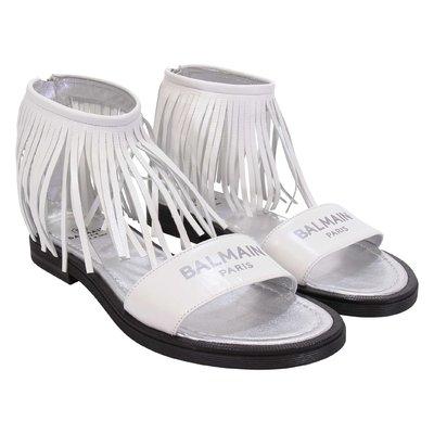 White fringe detail leather sandals