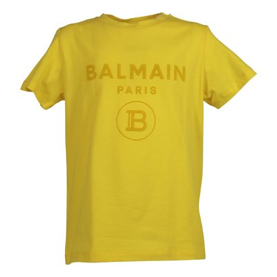 Lemon yellow logo detail cotton jersey t-shirt