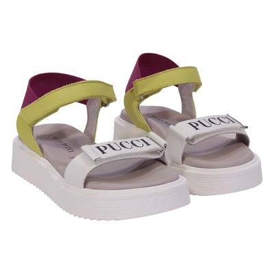 White logo and contrasting detail leather sandals