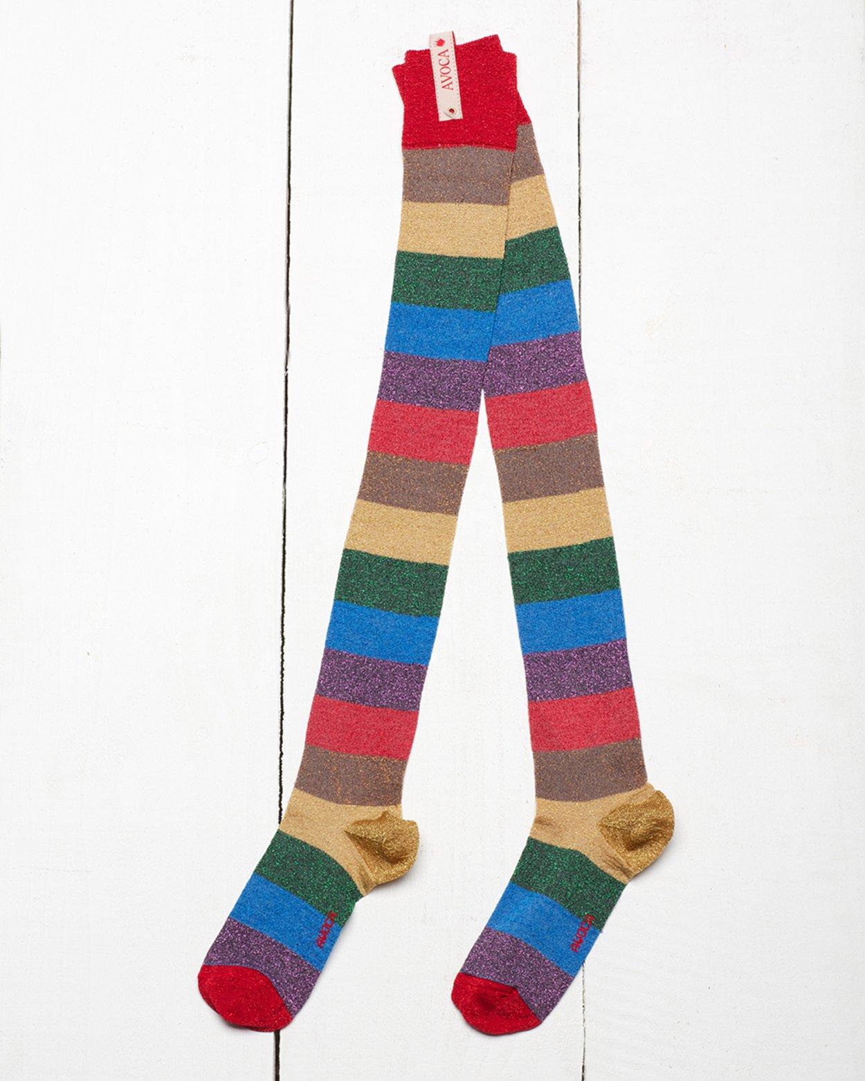 Glitter Rainbow Over The Knee Sock