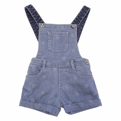 Blue stretch cotton denim overalls