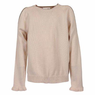 Powder pink cotton knit jumper