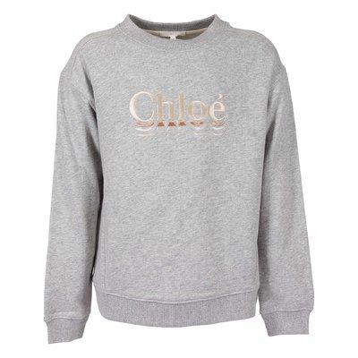 Melange grey logo detail cotton sweatshirt