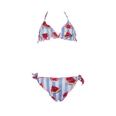 Costume bikini a righe con stampa watermelon in lycra