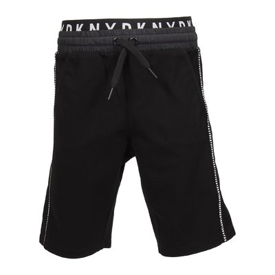 Shorts neri in misto viscosa con logo