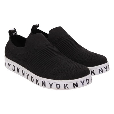 Black logo detail stretch knit fabric slip-on sneakers