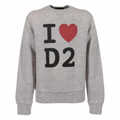 DSQUARED2 melange grey logo detail cotton sweatshirt