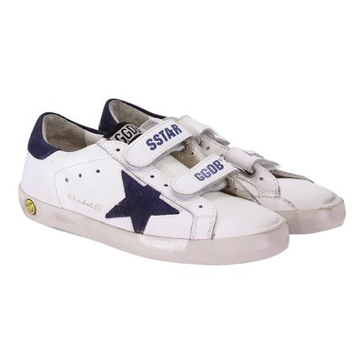 White Old School Edt leather sneakers with velcro