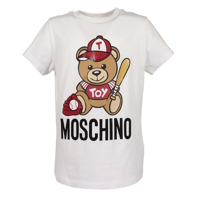 White cotton jersey Teddy Bear t-shirt