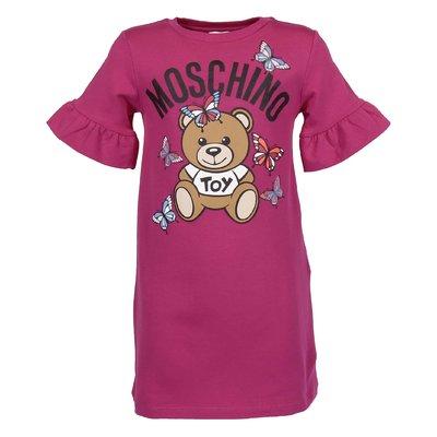 Fuchsia cotton Teddy Bear sweatshirt dress