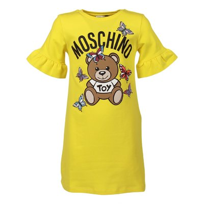 Lemon yellow cotton Teddy Bear sweatshirt dress