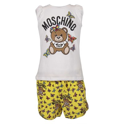 Teddy Bear cotton jersey white t-shirt and yellow shorts set