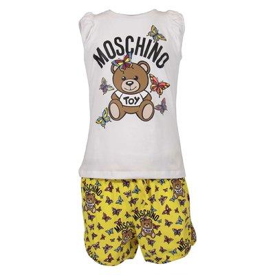 Completo Teddy Bear in jersey di cotone con t-shirt bianca e shorts gialli