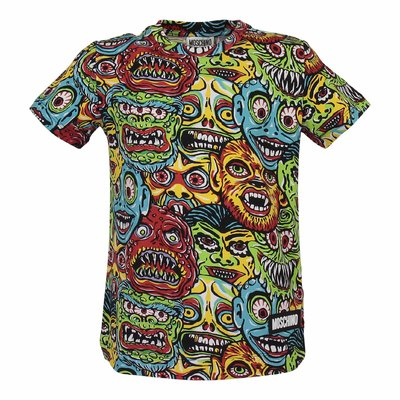 T-shirt stampata multicolor Monster in jersey di cotone