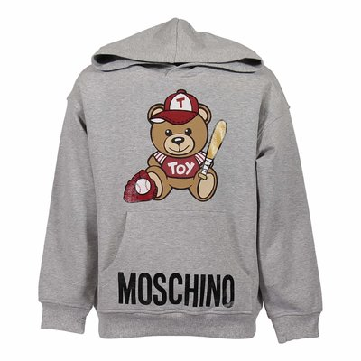 Melange grey cotton Teddy Bear hoodie