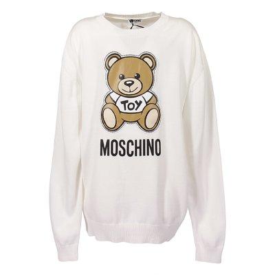 Pullover bianco Teddy Bear in maglia di cotone