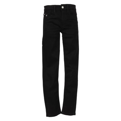 Black stretch denim high waist jeans