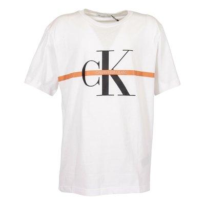 T-shirt bianca in jersey di cotone organico con dettaglio logo