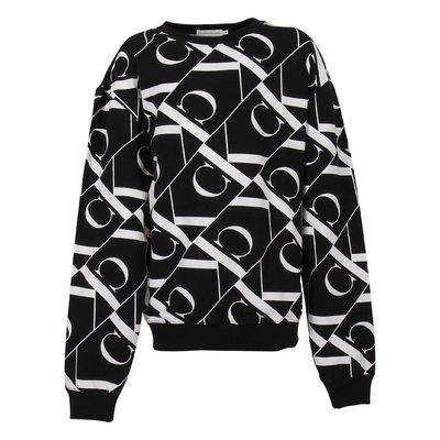 Black logo detail printed cotton sweatshirt
