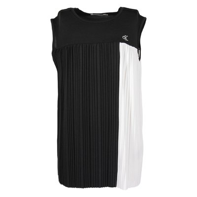 Black and white pleated techno fabric top