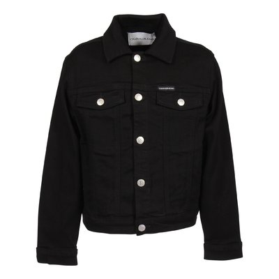Black stretch cotton denim jacket