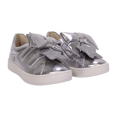 Silver faux leather sneakers